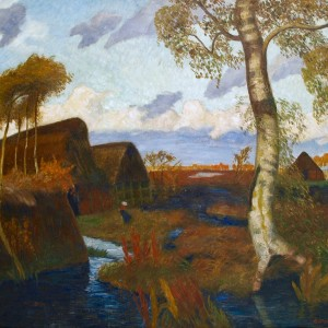 Otto Modersohn: Sturm im Teufelsmoor, 1928, Öl auf Leinwand 78 x 109 cm